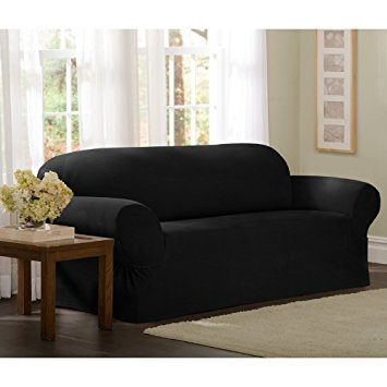 Amazon Maytex Collin Stretch 2 Piece Slipcover Sofa Black Regarding Black Slipcovers For Sofas (#4 of 15)