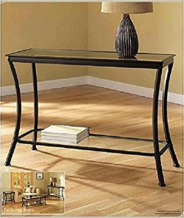 Amazon Mendocino Black Console Table Stylish Bronze Metal Throughout Metal Glass Sofa Tables (#3 of 15)