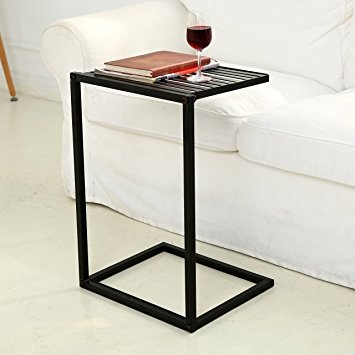 Amazon Mygift Slide Under Sofa Side Table Metal Slats Snacks With Sofa Snack Tray Table (#4 of 15)