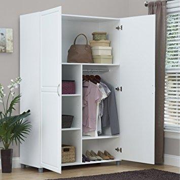 Amazon Solid Closet Storage Wardrobe Armoire Cabinet Bedroom Regarding White Wardrobe Armoire (View 2 of 15)