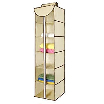 Amazon Ziz Home Hanging Clothes Storage Box 6 Shelving With Hanging Wardrobe Shelves (View 5 of 15)