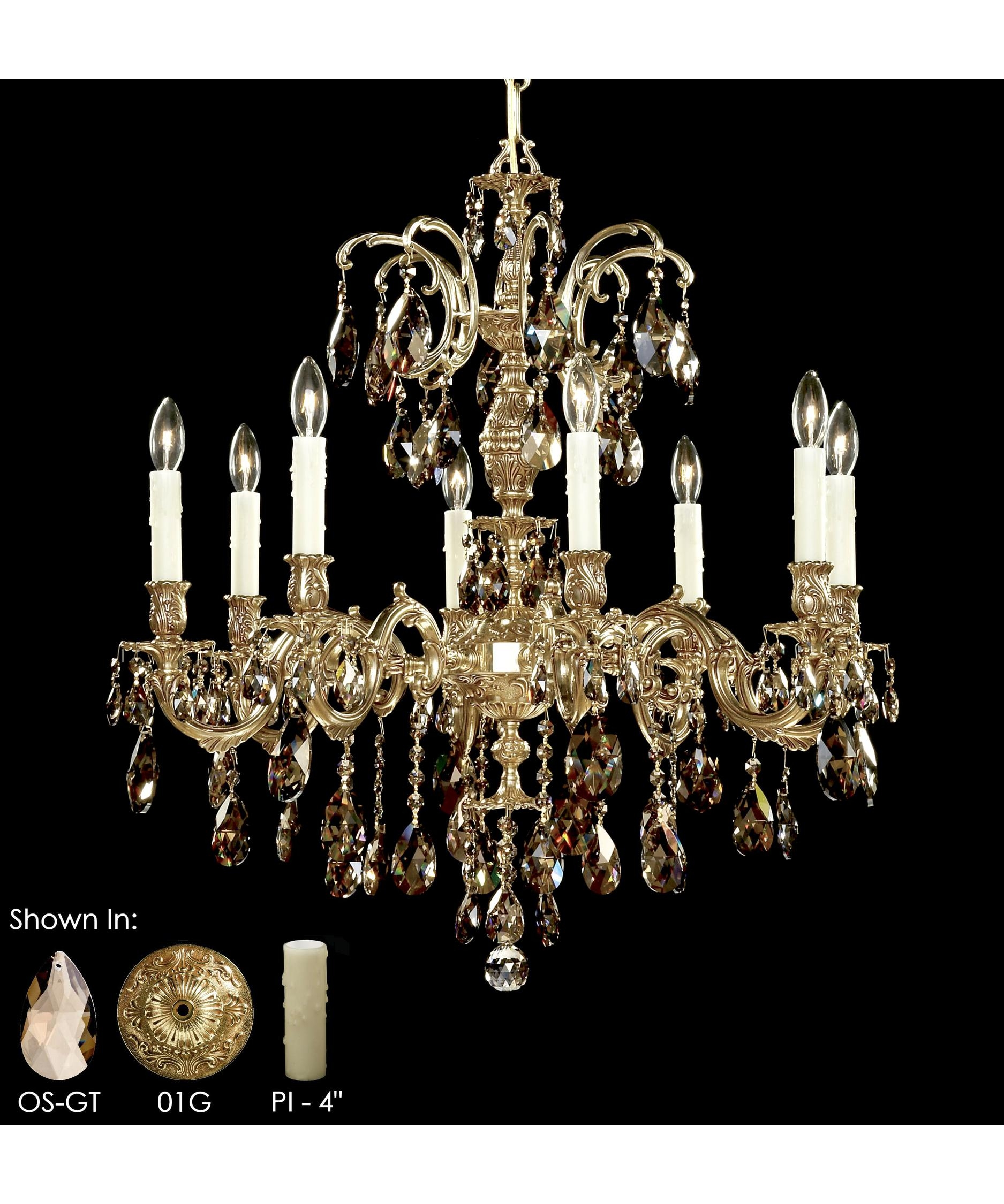 American Brass And Crystal Ch9714 Marlena 27 Inch Wide 8 Light For Brass And Crystal Chandelier (#1 of 12)