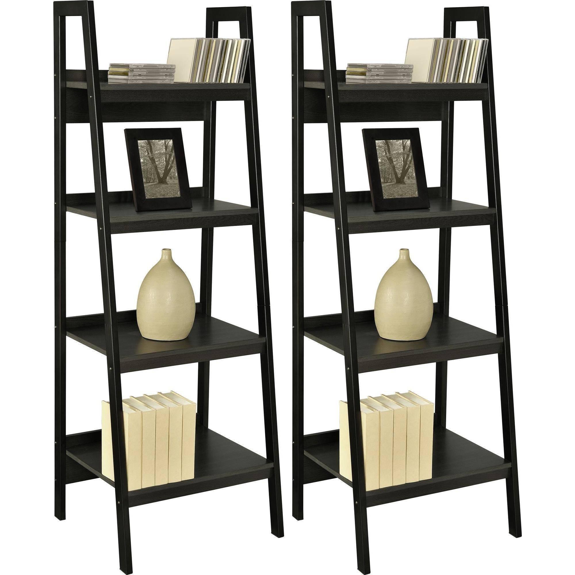 Ameriwood Home Lawrence 4 Shelf Ladder Bookcase Bundle Black Set Throughout Ladder Bookcase (#7 of 15)