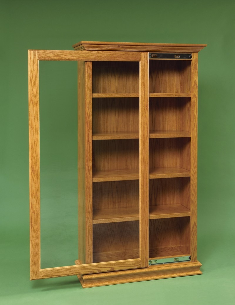 Amish Sliding Door Large Bookcase Within Large Wooden Bookcases (View 14 of 15)