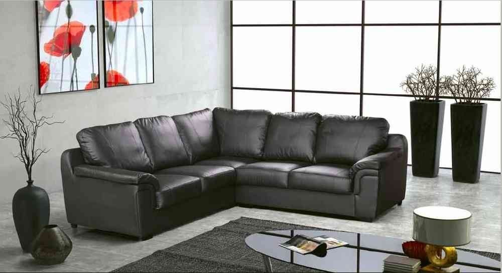 Amy Real Leather Corner Sofa Black Corner Sofas With Regard To Leather Corner Sofas (#3 of 15)
