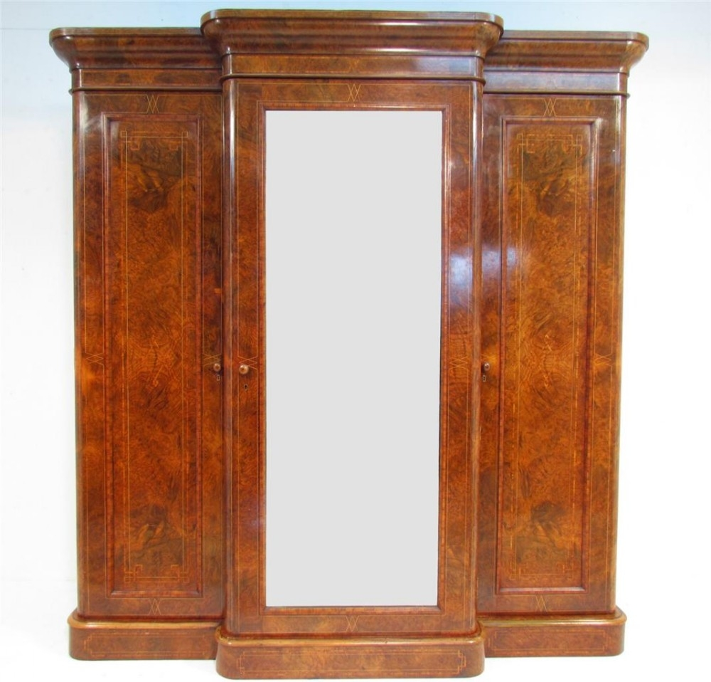 An Exceptional 19th C Antique Burr Walnut Breakfront Wardrobe Inside Breakfront Wardrobe (View 1 of 15)