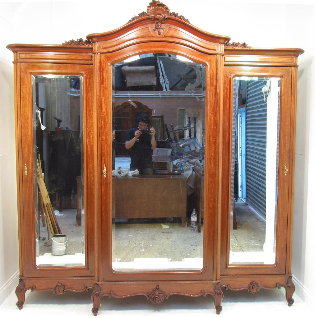 An Exceptional Large French Antique Mahogany Breakfront Wardrobe For Breakfront Wardrobe (View 2 of 15)