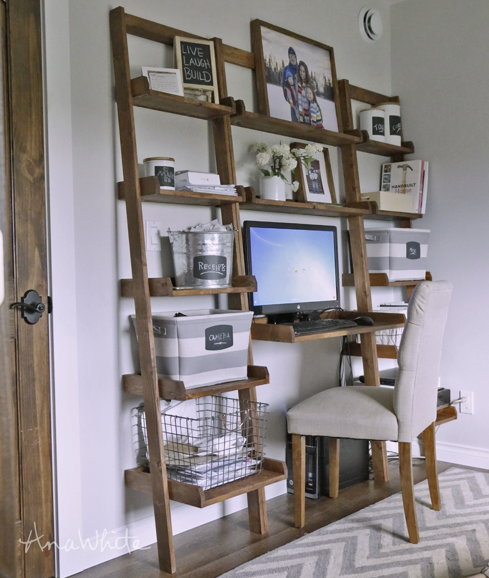 Ana White Leaning Wall Ladder Desk Diy Projects For Desk With Matching Bookcase (#1 of 15)