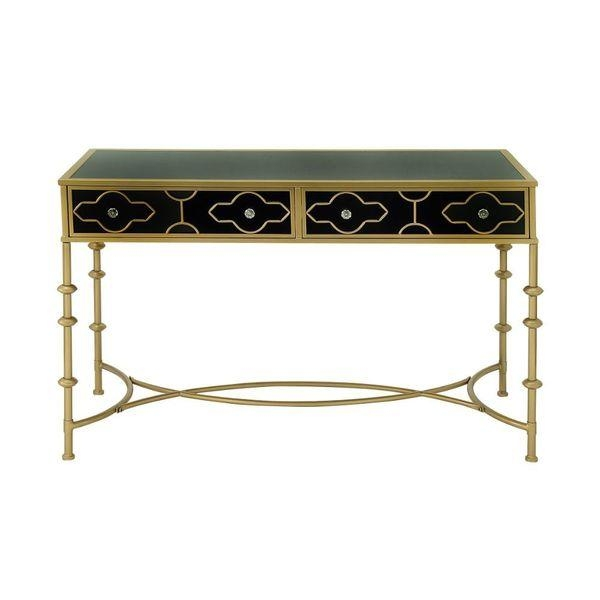 And Gold Metal And Glass Console Table Inside Metal Glass Sofa Tables (#4 of 15)