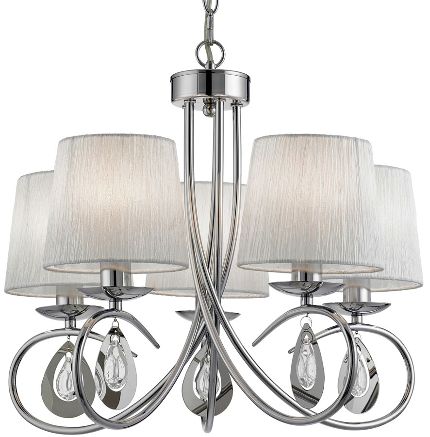 Angelique Decorative 5 Light Chrome Chandelier With Shades 1025 5cc For Chrome Chandelier (#2 of 12)