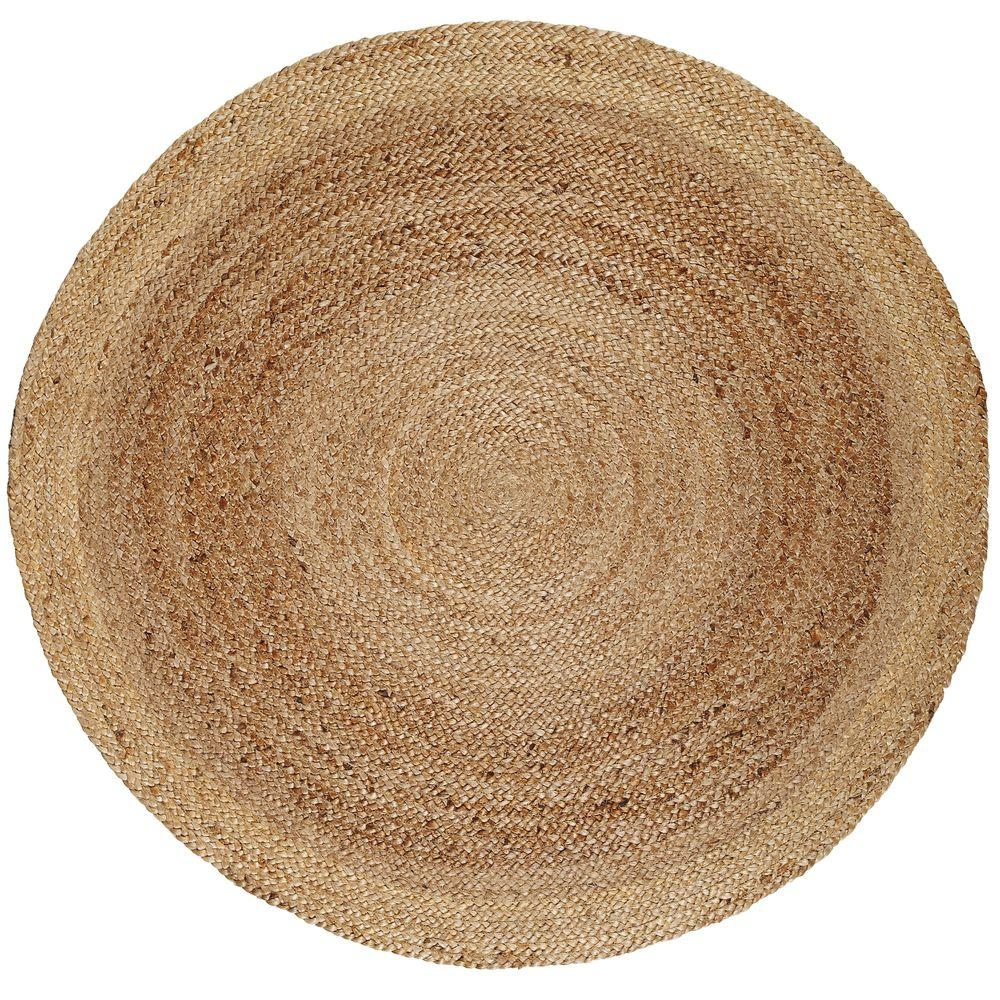 Anji Mountain Kerala Tan Braided 8 Ft Jute Round Area Rug Amb0328 Intended For Round Wool Area Rugs (#3 of 15)