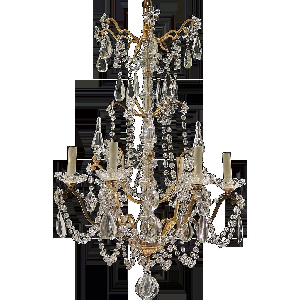 Antique 6 Light French Gilt Brass And Crystal Chandelier From Tolw Within Vintage French Chandeliers (#1 of 12)