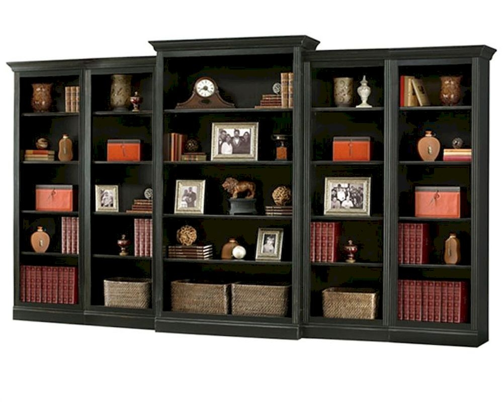Antique Black Bookcase Wall Oxford Howard Miller Hm 920 012 Set With Library Wall Units Bookcase (#3 of 15)