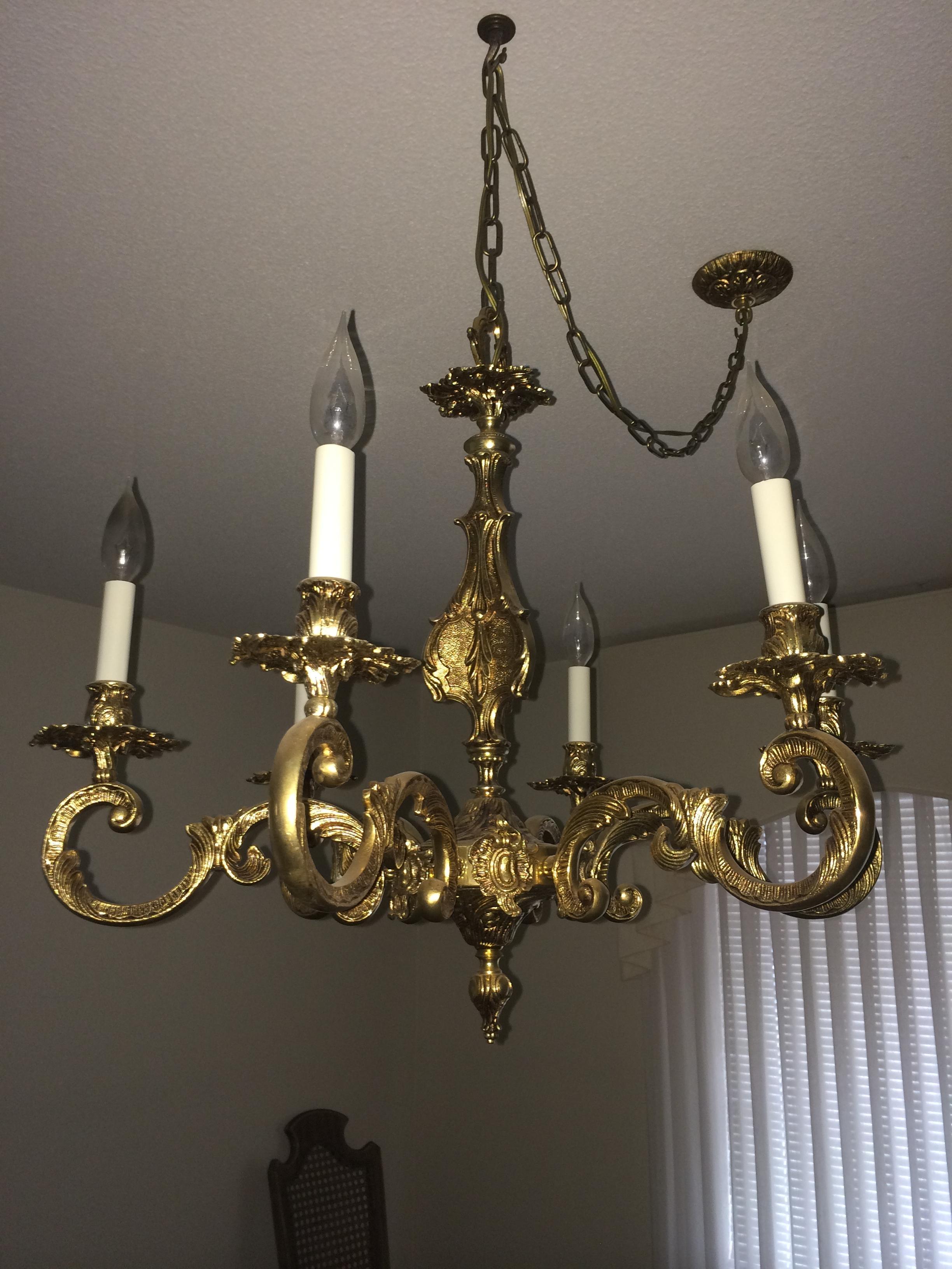 Antique Brass Chandelier Antique Appraisal Instappraisal Within Old Brass Chandelier (#2 of 12)