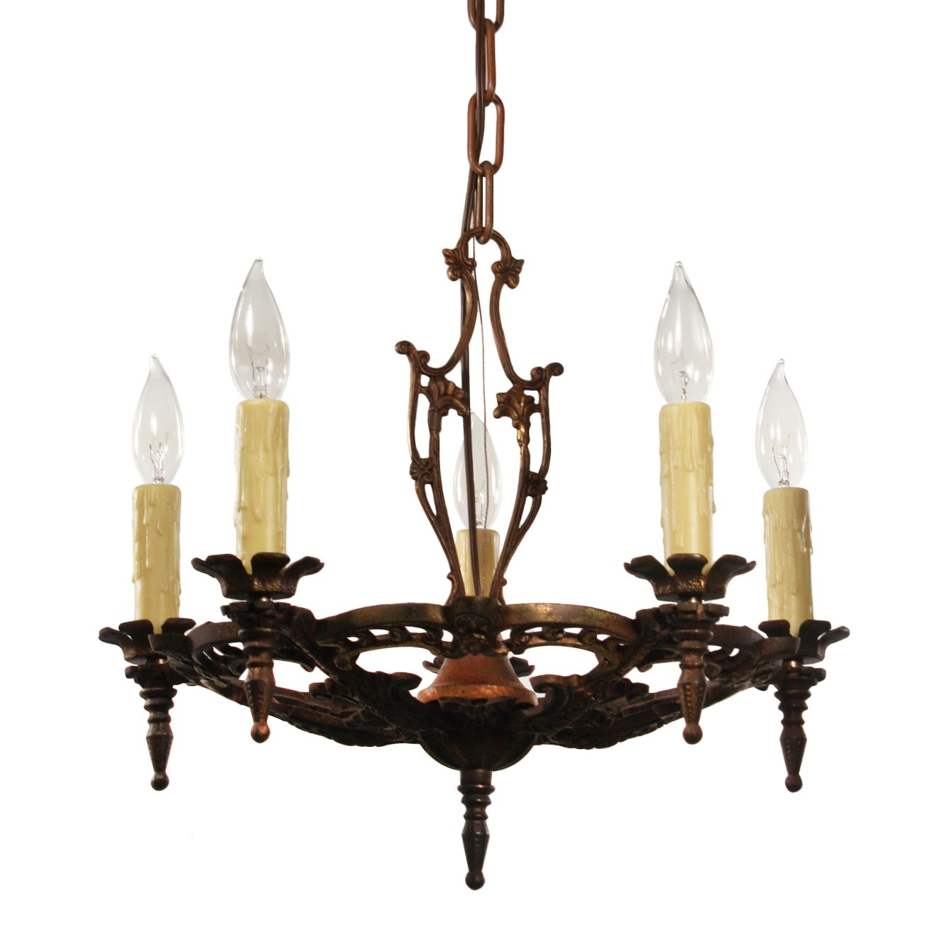 Antique Chandelier In Cast Iron Antique Lighting Preservation Intended For Cast Iron Antique Chandelier (#4 of 12)