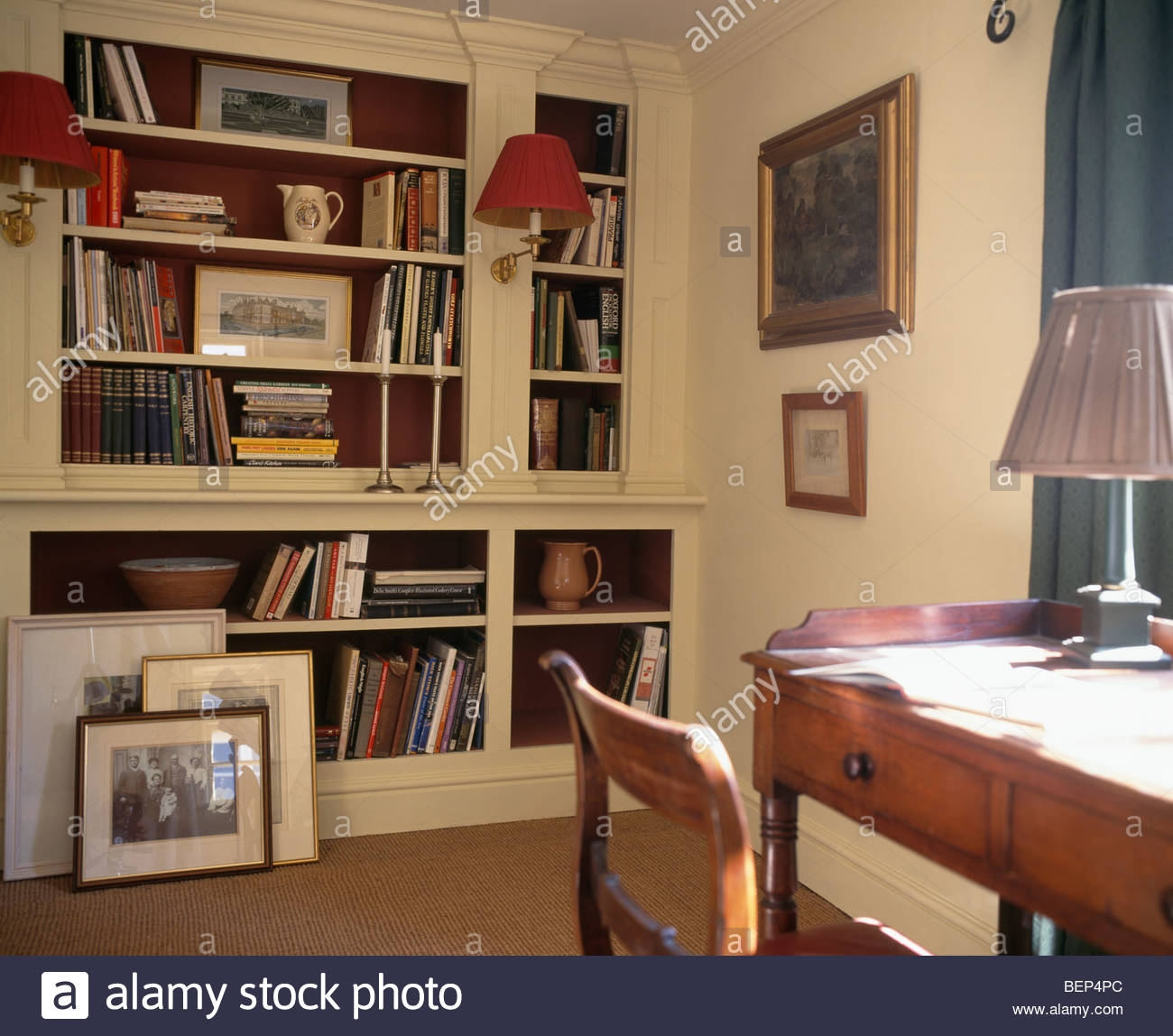 Antique Desk And Chair In Traditional Study With Fitted For Study Bookshelves (View 5 of 15)