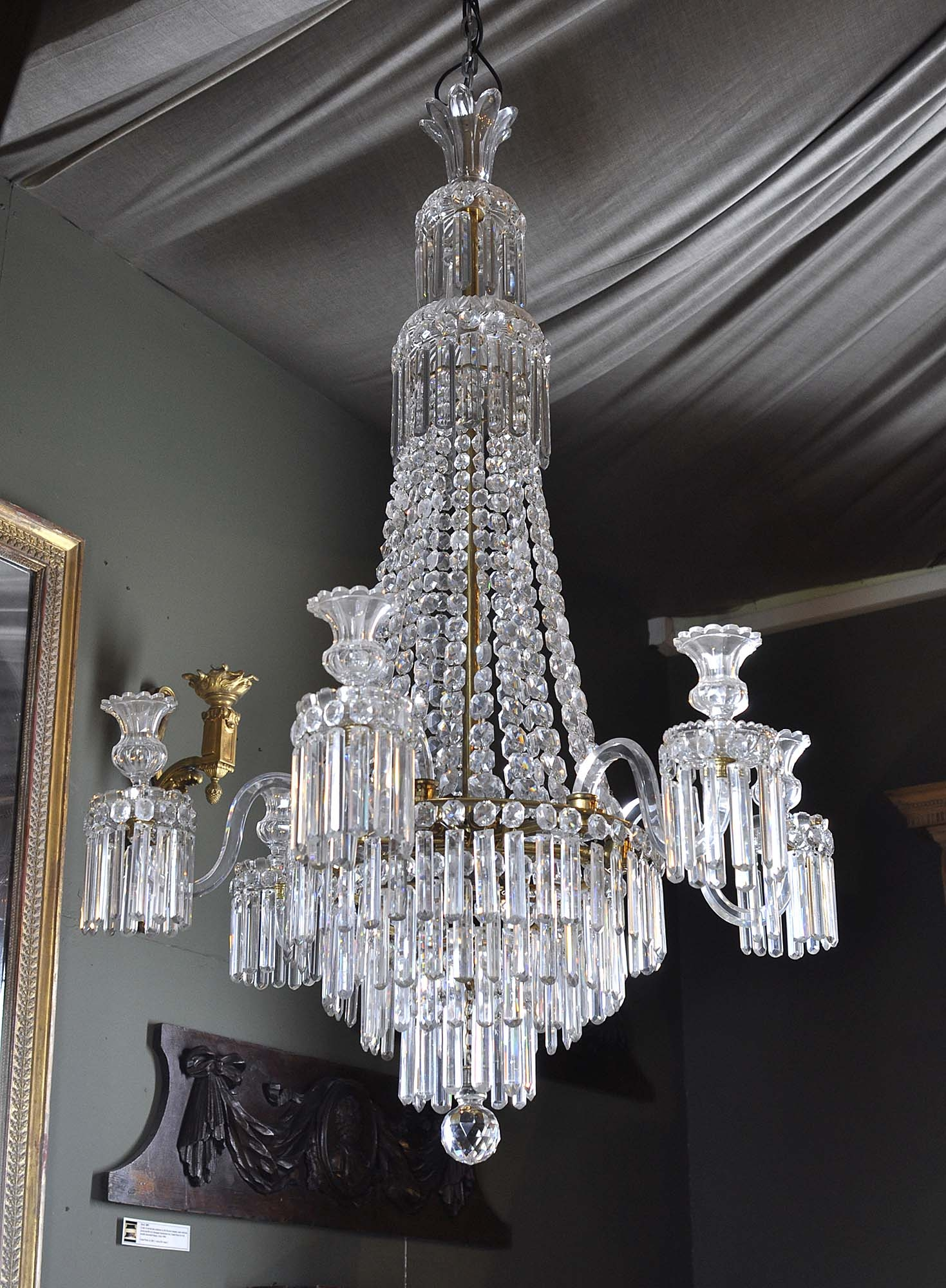 Antique English Regency Waterfall Crystal Chandelier Bossa Samba With Waterfall Crystal Chandelier (#1 of 12)