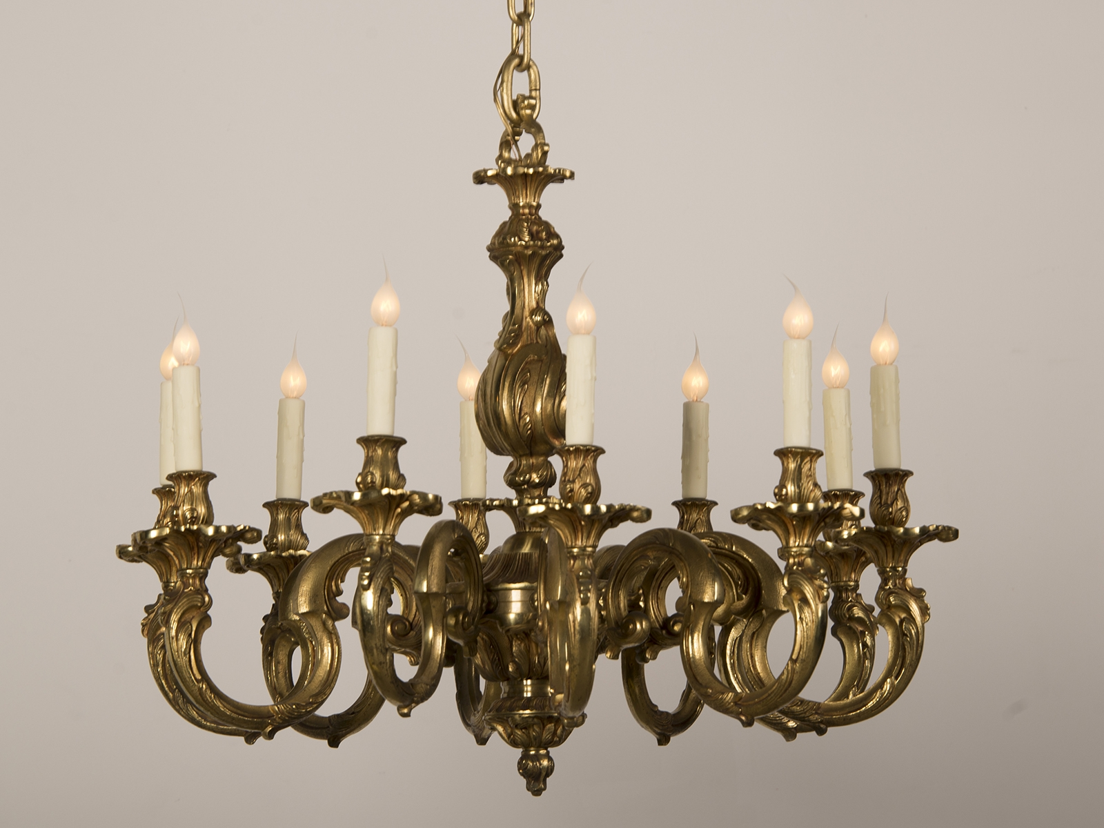 Antique French Louis Xv Style Ten Arm Bronze Dre Chandelier Circa Pertaining To Vintage French Chandeliers (#2 of 12)