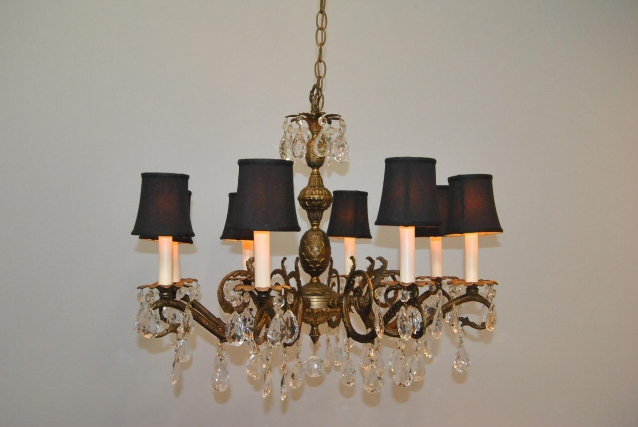 Antique French Style 8 Arm Brass Crystal Chandelier Lefflers Intended For Brass And Crystal Chandeliers (#1 of 12)