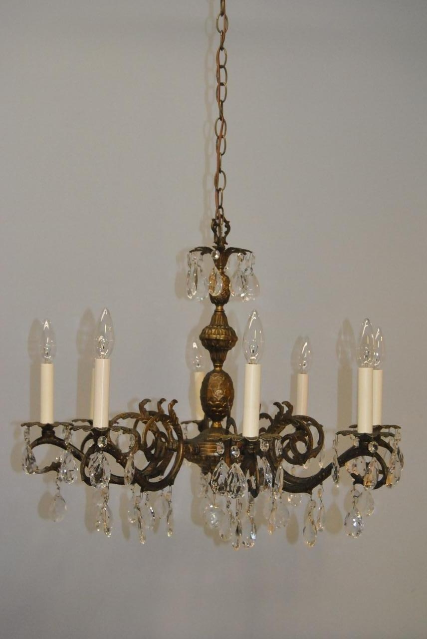 Antique French Style 8 Arm Brass Crystal Chandelier Lefflers With Regard To Brass And Crystal Chandelier (#3 of 12)