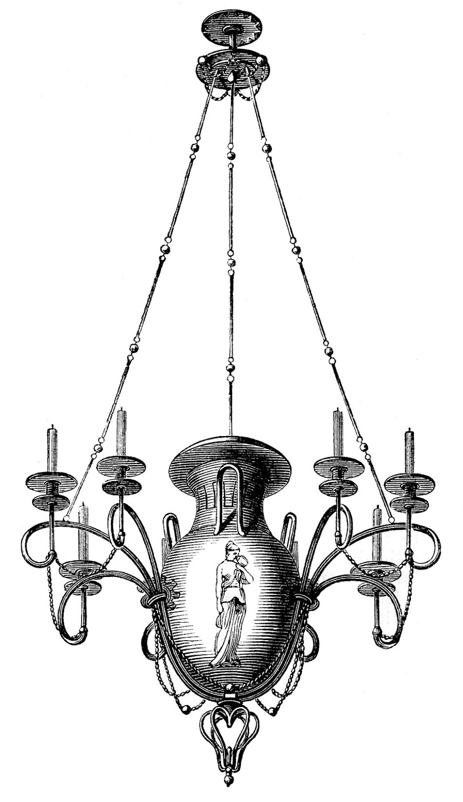 Antique Images 3 Chandeliers 1 Spooky The Graphics Fairy In Antique Chandeliers (#4 of 12)