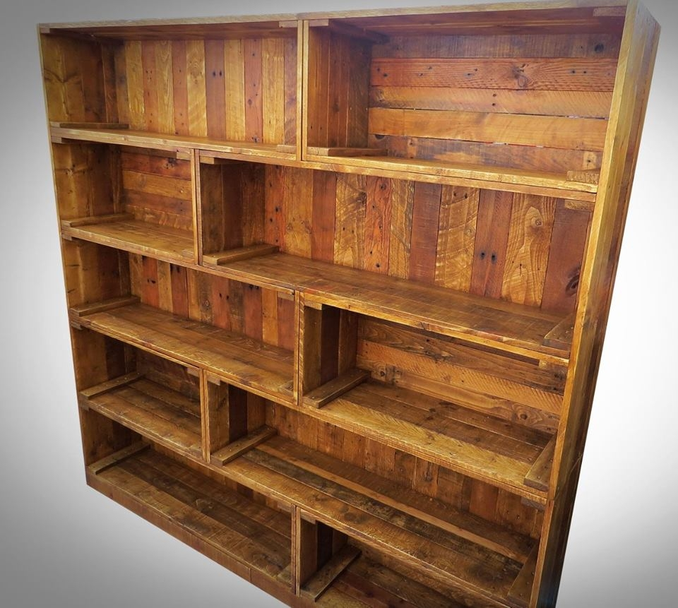 Antique Pallet Bookcase Built In Crate Style Pallets And Crates Inside Huge Bookcase (#1 of 15)