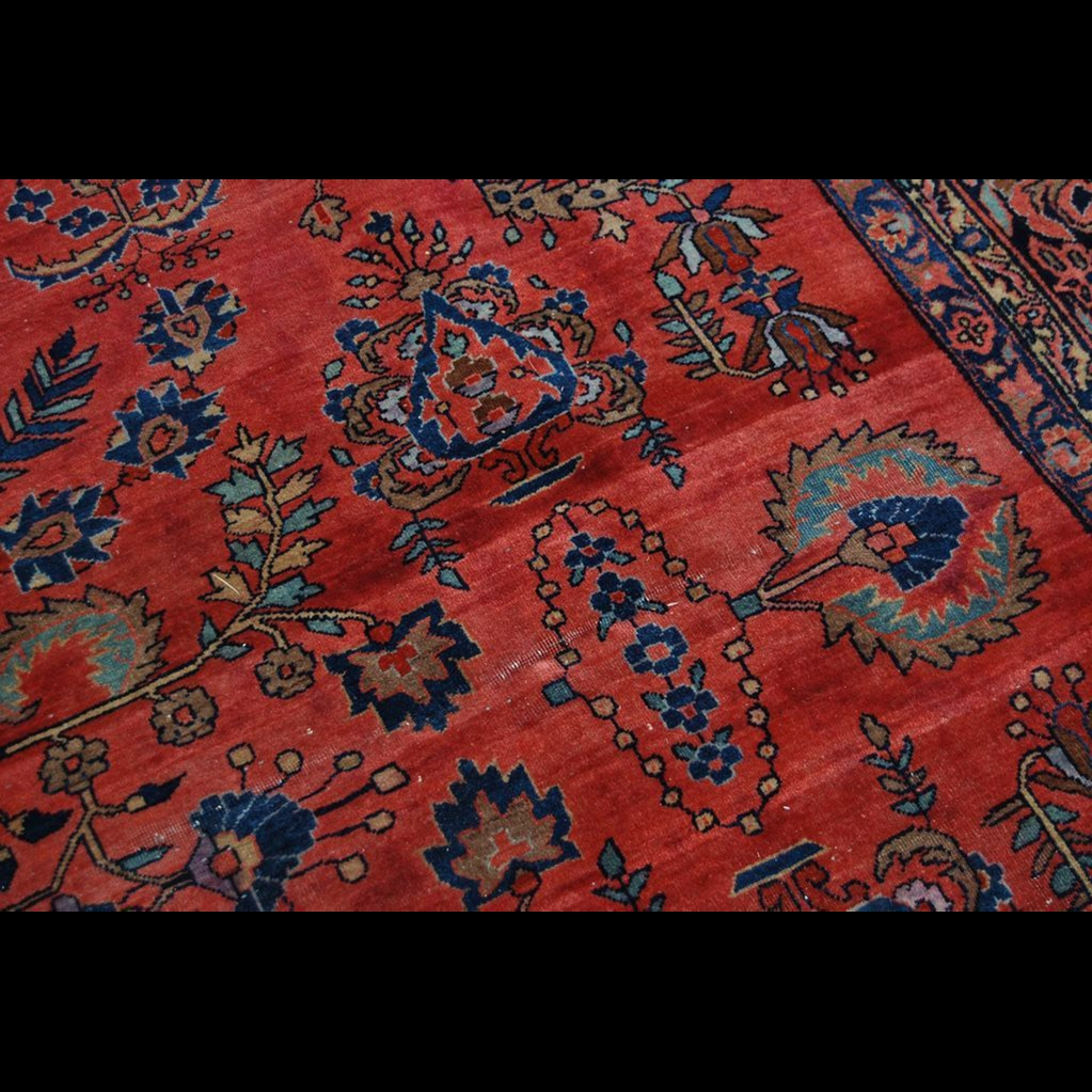 Antique Persian Hand Knotted Sarouk Red Blue Wool Area Rug Regarding Blue Wool Area Rugs (#3 of 15)