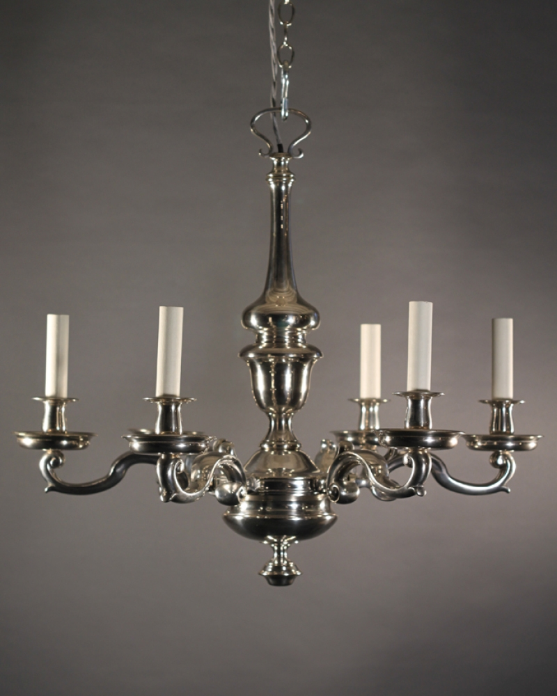 Antique Silver Plate Chandelier Made In Britain During The Throughout Antique Chandeliers (#5 of 12)