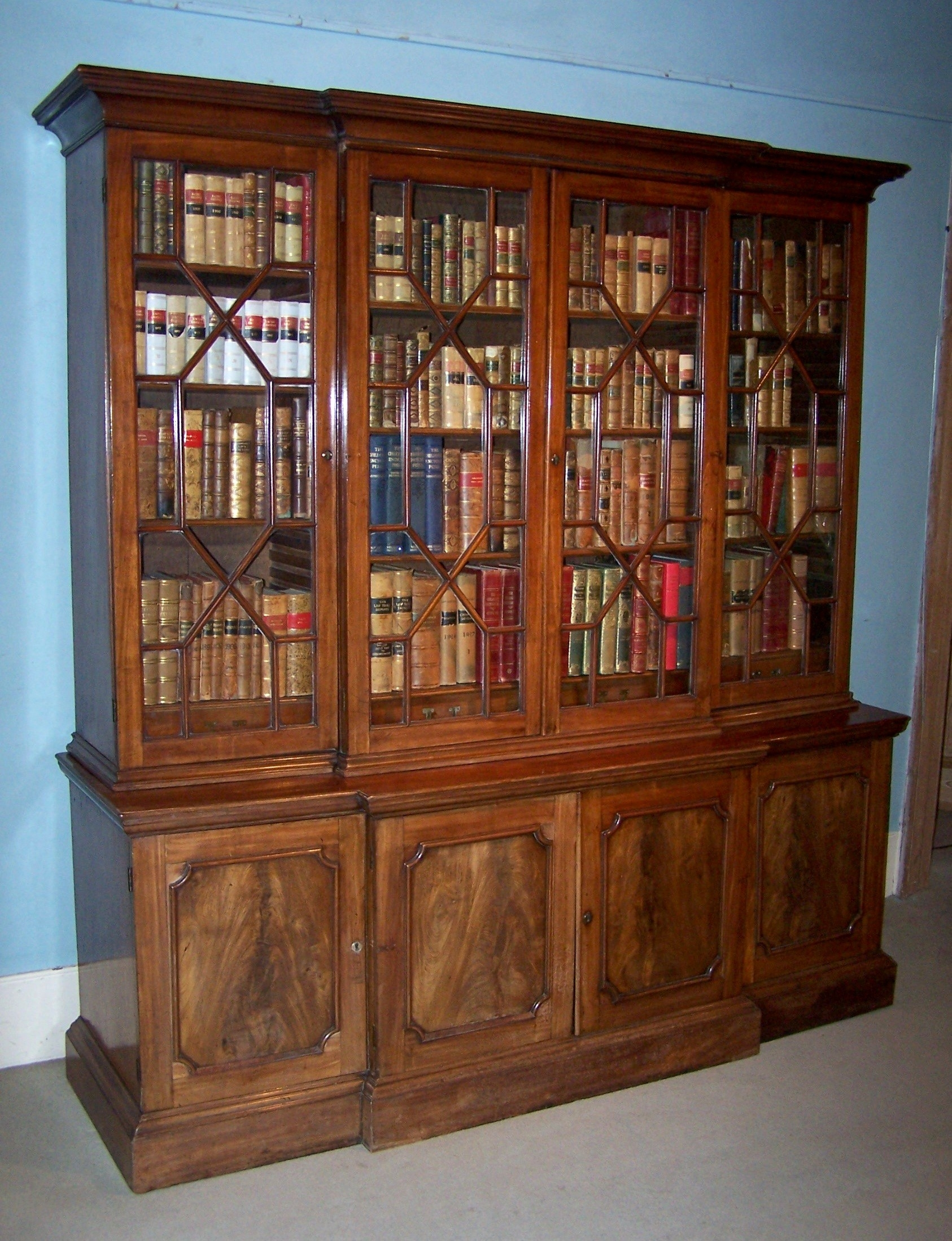 Antique Small Breakfront Bookcase 1775 England From Summers Throughout Break Front Bookcase (#2 of 15)
