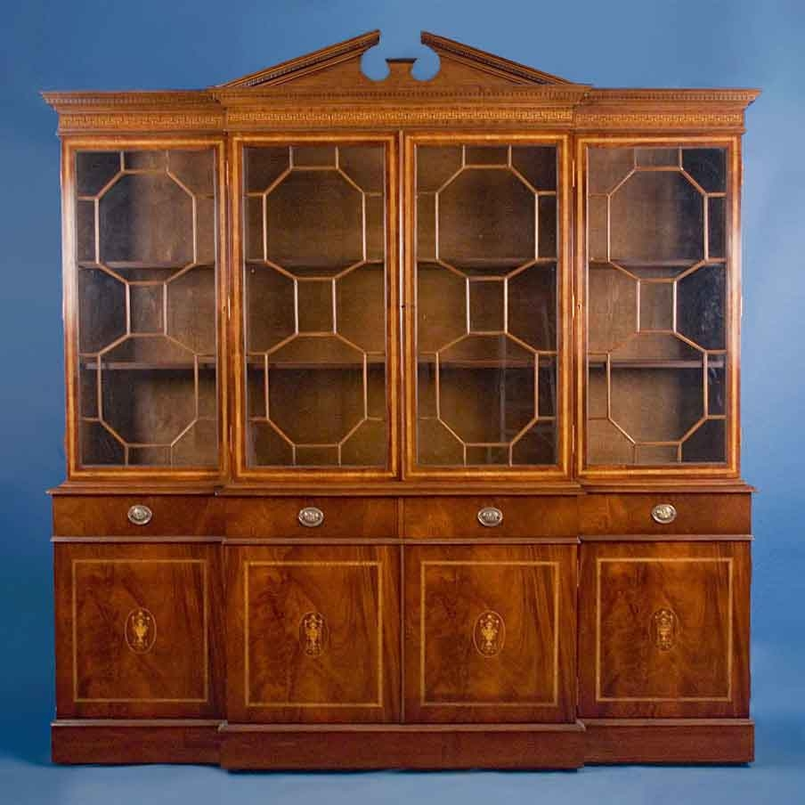 Antique Style English Mahogany Breakfront Bookcase For Sale In Break Front Bookcase (#3 of 15)