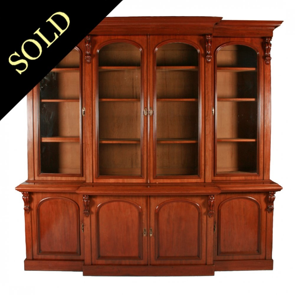 Antique Victorian Bookcase Victorian Breakfront Bookcase For Break Front Bookcase (#4 of 15)