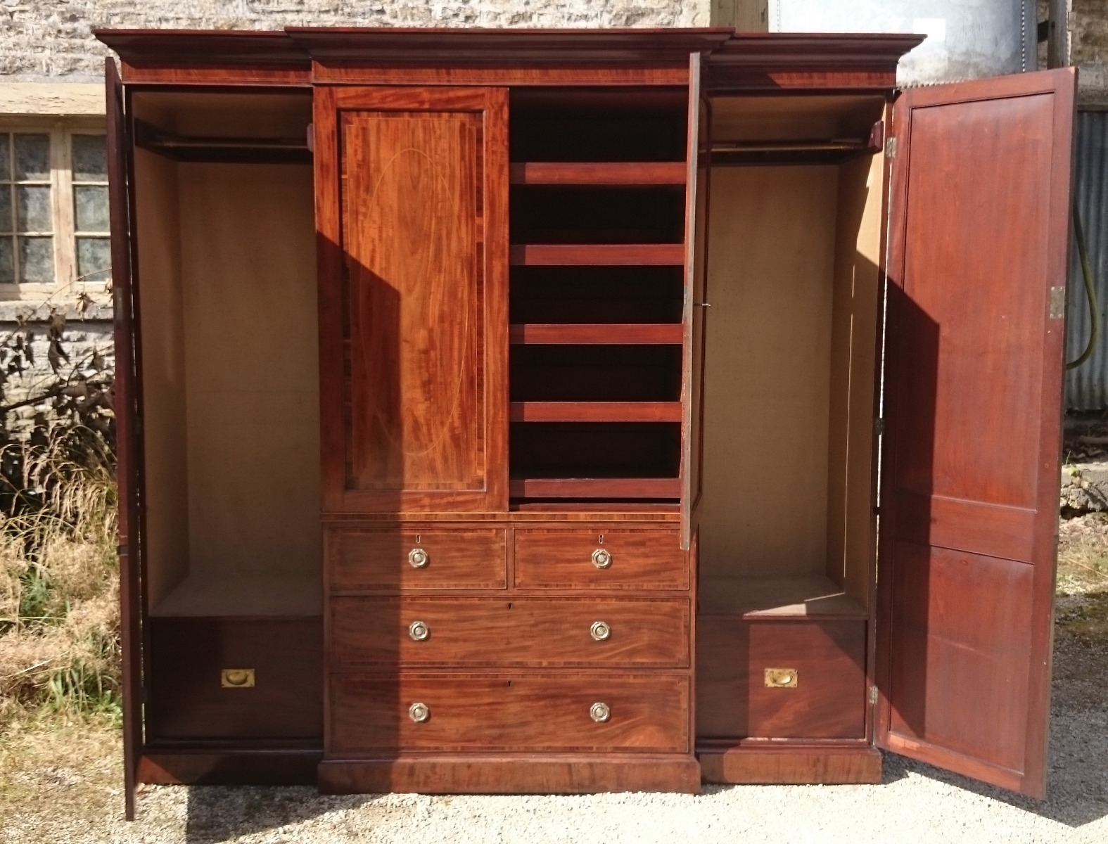 Antique Wardrobe Linen Presses Hares Antiques With Regard To Breakfront Wardrobe (View 3 of 15)