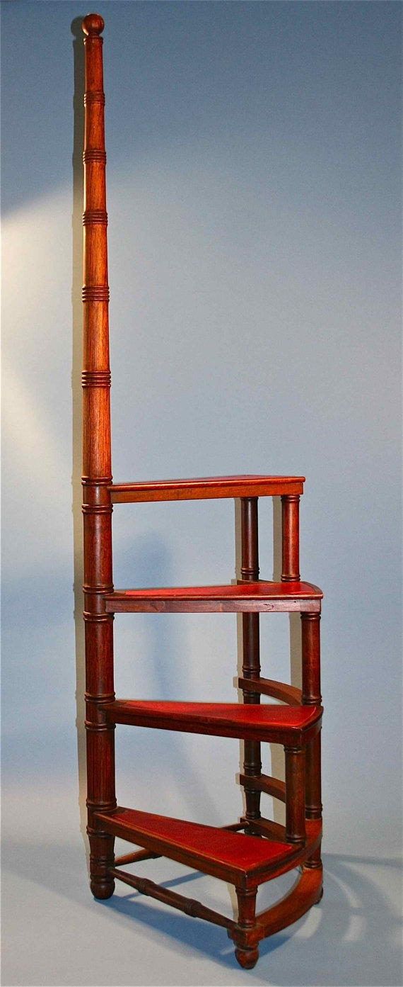 Antique Wooden Movable Library Ladder Stairs Busaccagallery In Wooden Library Ladders (#2 of 15)