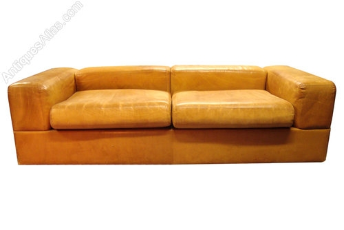 Antiques Atlas A Very Rare French Retro Leather Sofa Bed Throughout Vintage Leather Sofa Beds (#1 of 15)