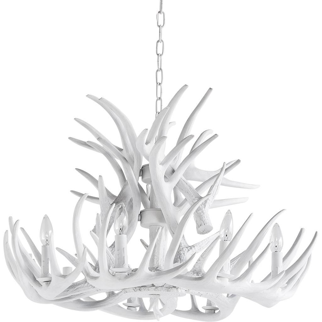 Antler Chandelier Lamp In White Modernist Lighting In White Antler Chandelier (#1 of 12)
