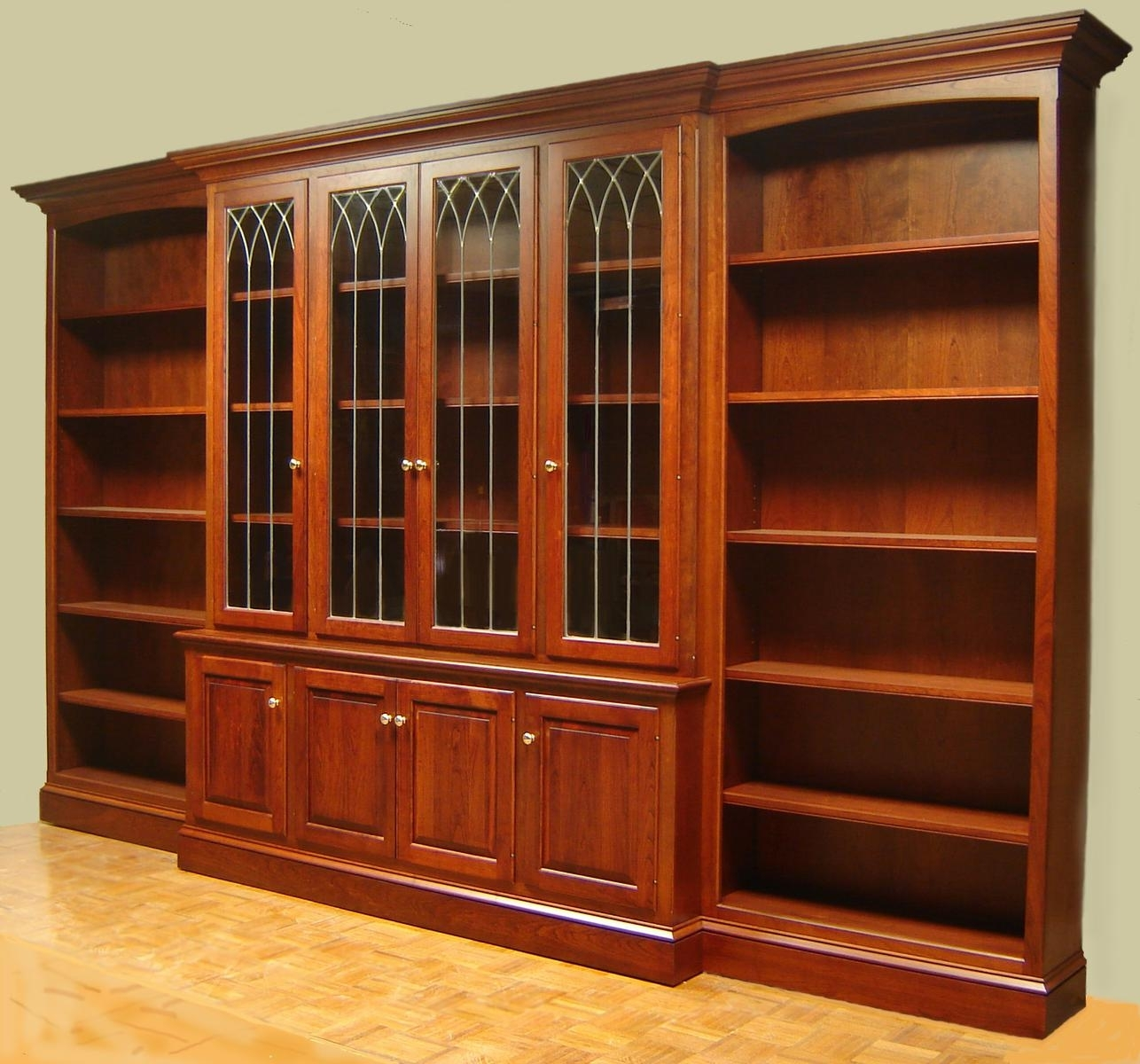 Appealing Wood Bookcase With Doors Solid Wood Construction Natural For Large Solid Wood Bookcase (#1 of 15)