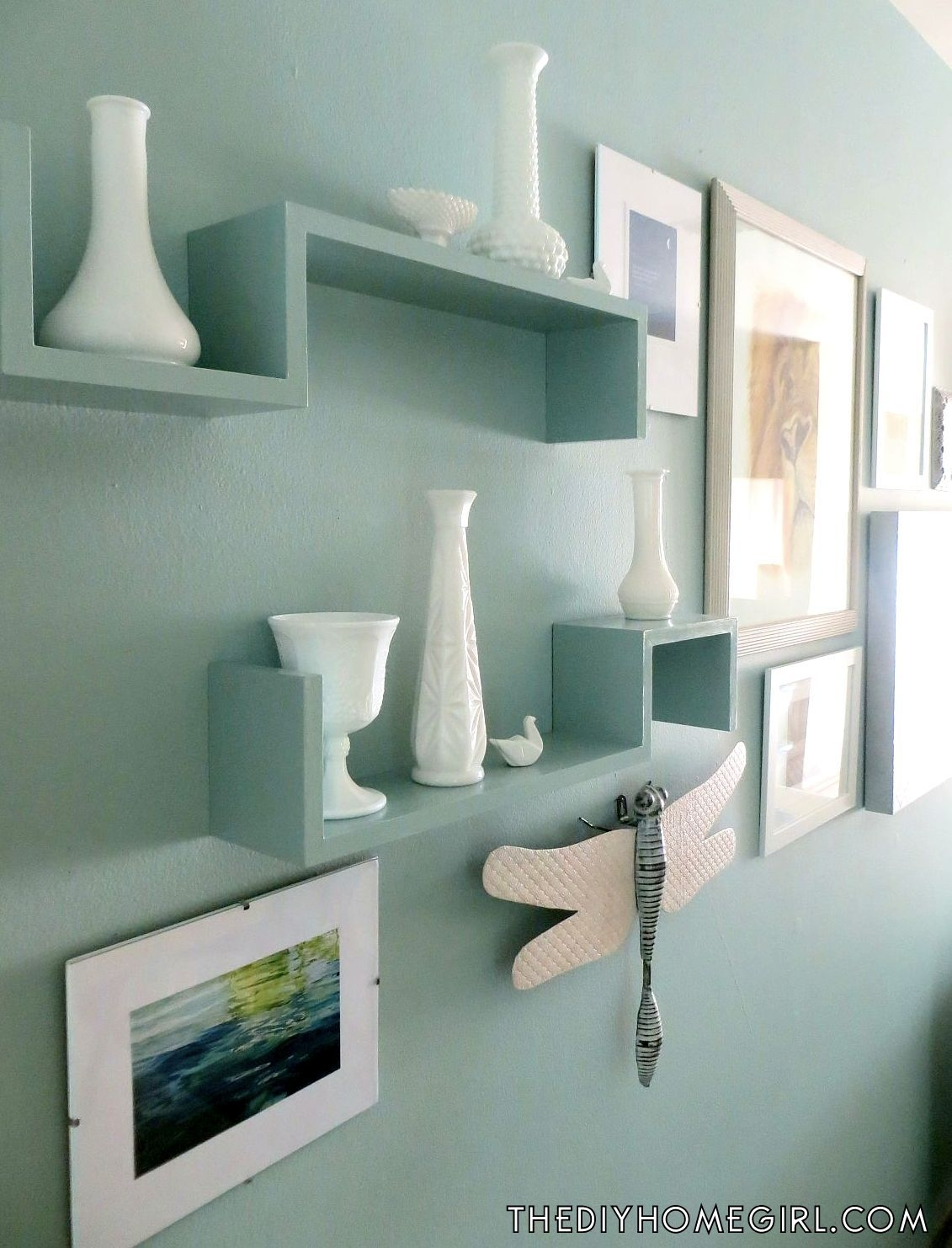 Aqua Painted Shelves Opal Silk Behr Vintage Milk Glass Living Room Inside Glass Shelves In Living Room (#2 of 12)