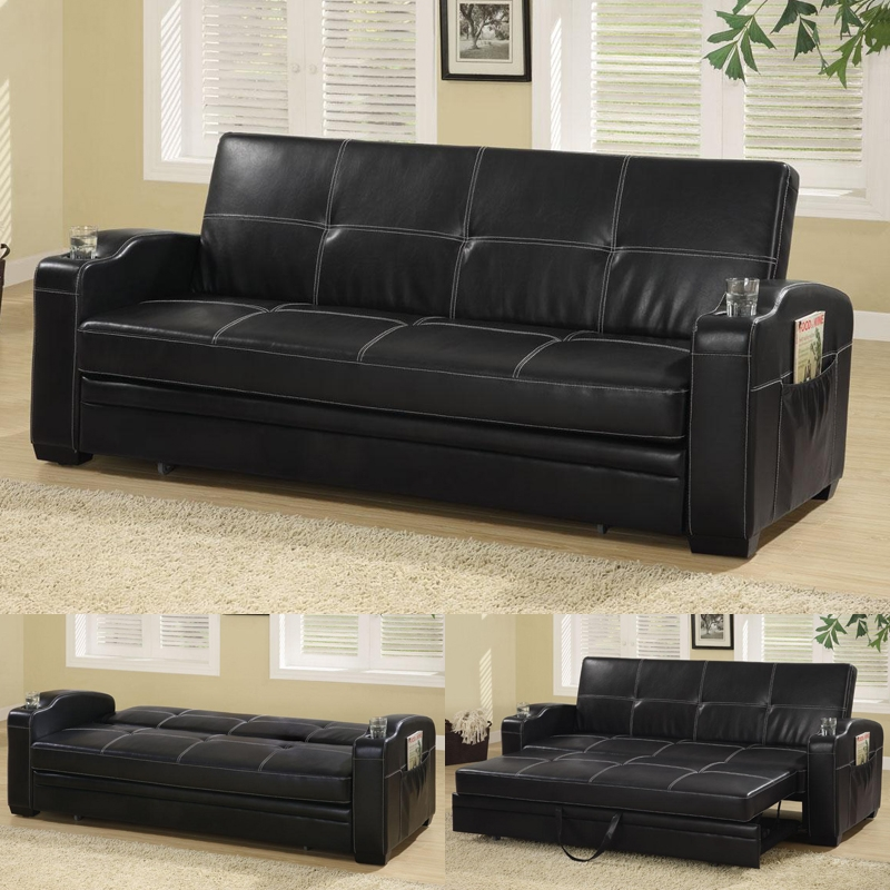 Arlington Collection 300132 Black Futon Black Futon Coaster Intended For Leather Sofa Beds With Storage (#1 of 15)