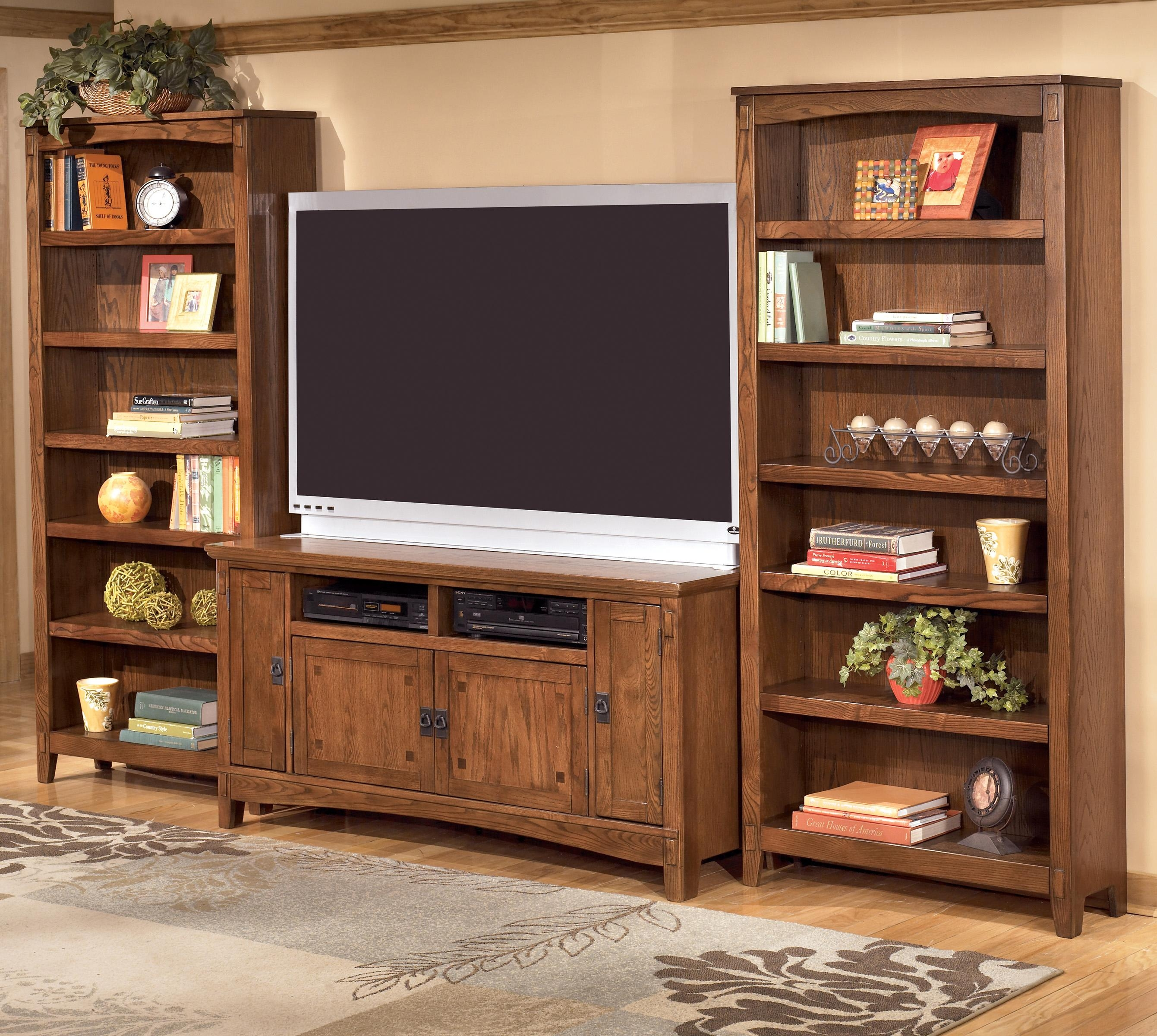 Ashley Furniture Cross Island 60 Inch Tv Stand 2 Large Bookcases With Large Wooden Bookcases (View 10 of 15)