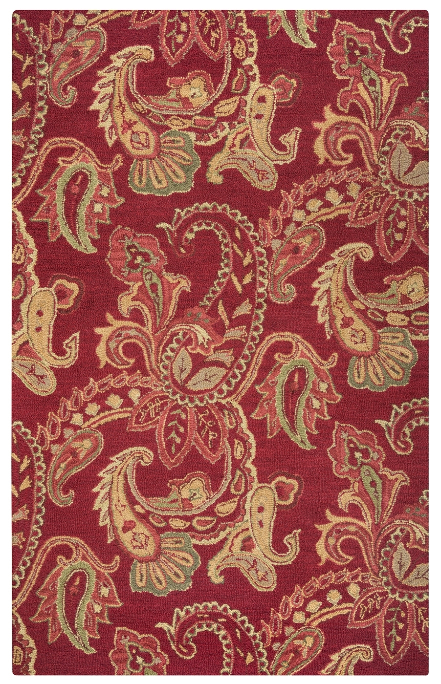 Ashlyn Paisley Pattern New Zealand Wool Area Rug In Burgandy Amp With Regard To New Zealand Wool Area Rugs (#3 of 15)