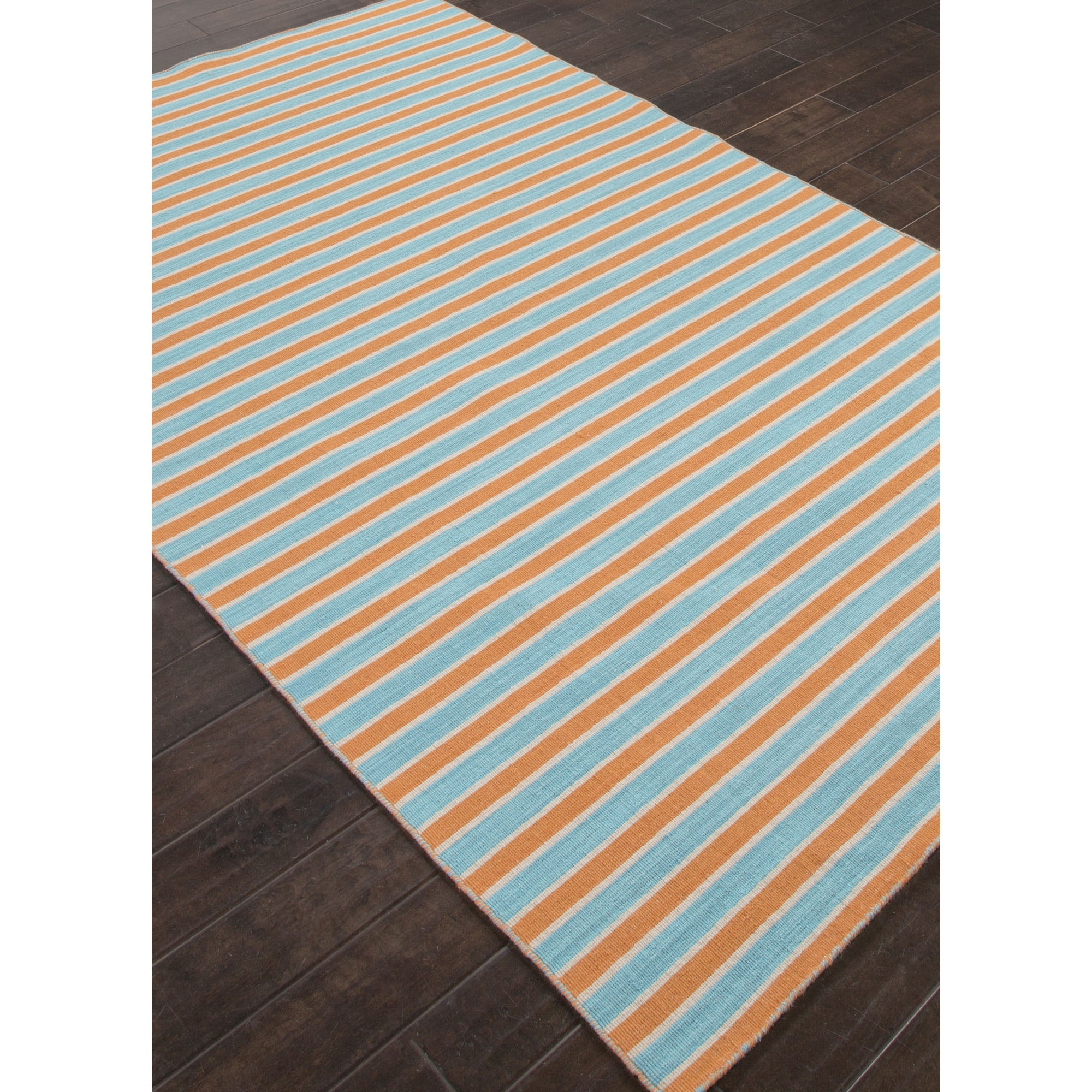 Asterlane Flat Weave Stripe Pattern Orangeblue Wool Area Rug With Regard To Wool Flat Weave Area Rugs (#1 of 15)