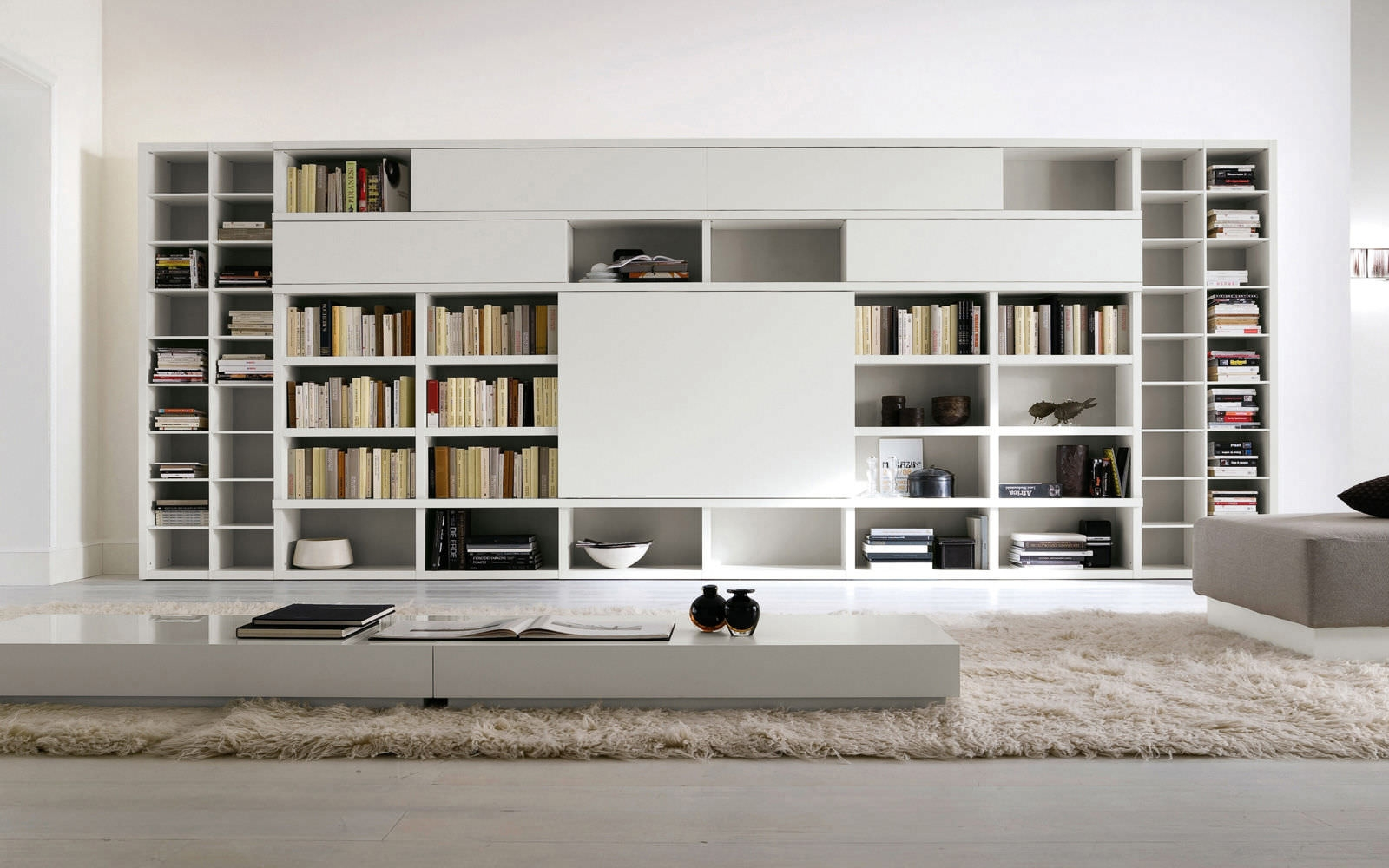 Astonishing Furniture Wonderful White Lacquered Contemporary Big With Book Cabinet Design (View 7 of 15)