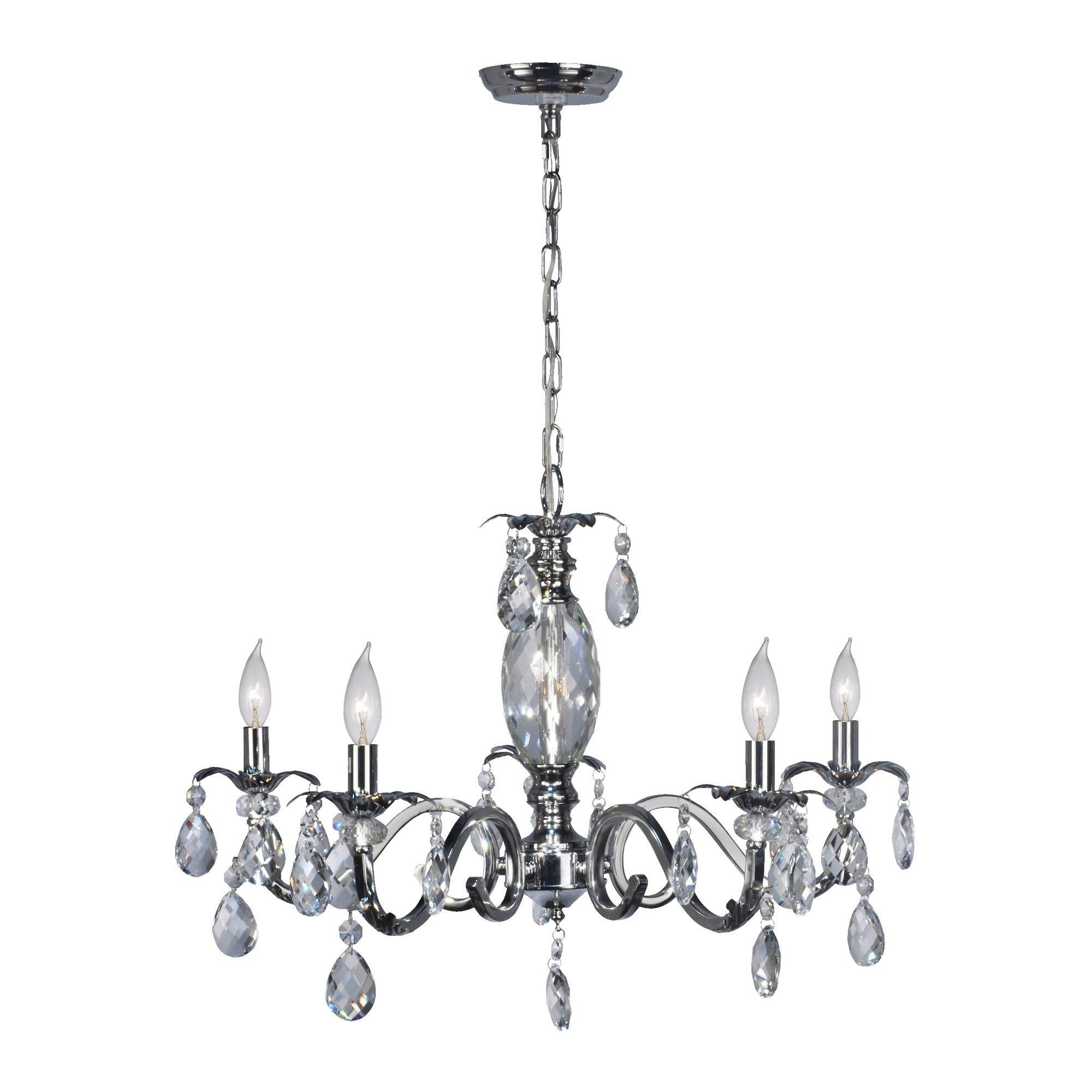 Astoria Grand Sheatown 5 Light Lead Crystal Chandelier Wayfair Pertaining To Lead Crystal Chandelier (#3 of 12)