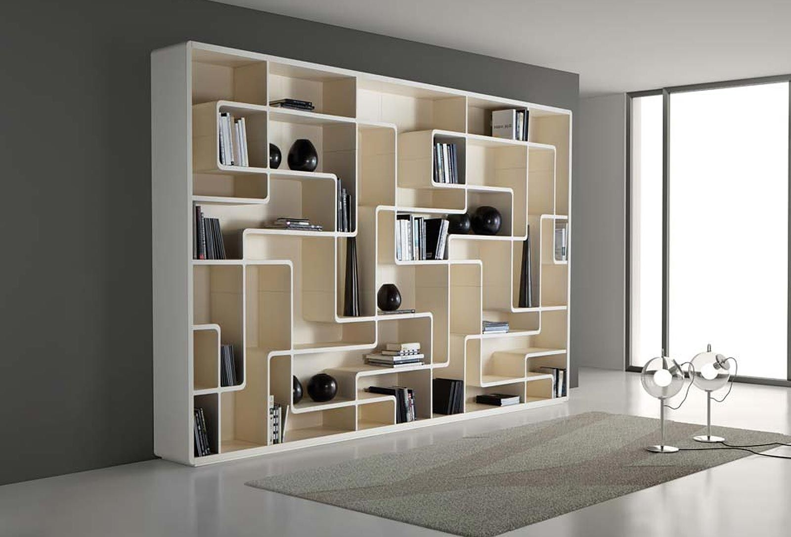 Astounding Wall Grey Wooden Bookcase Design On Modern Living Room Regarding Unique Bookcase Designs (View 12 of 15)