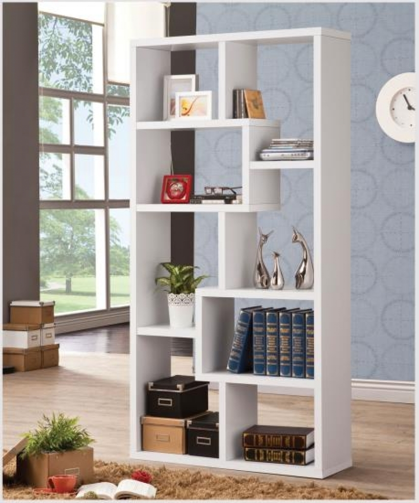 Asymmetrical Semi Backless Bookcase In Cappuccino Modern Backless Inside Backless Bookshelves (#7 of 15)