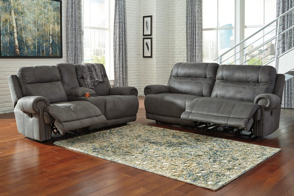 Austere Gray 2 Seat Reclining Sofa Dbl Rec Loveseat W With Regard To Sofas With Consoles (#4 of 15)