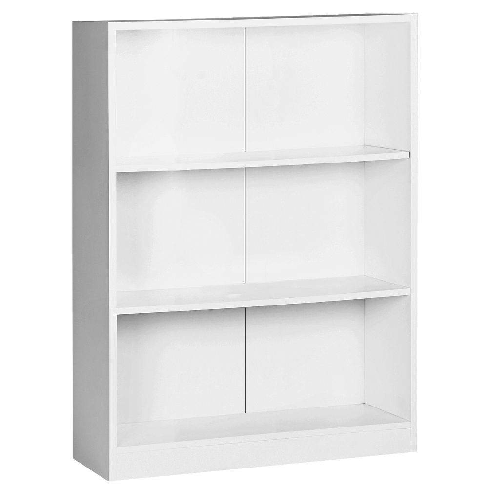 Austin 3 Shelf Bookcase White Officeworks With Regard To White Bookcase (#1 of 15)