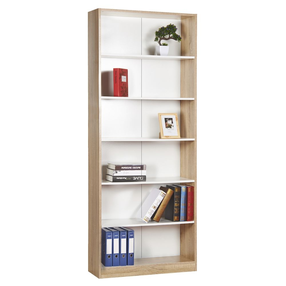 Austin 6 Shelf Bookcase Oak And White Officeworks Regarding Flat Pack Bookcase (#1 of 15)