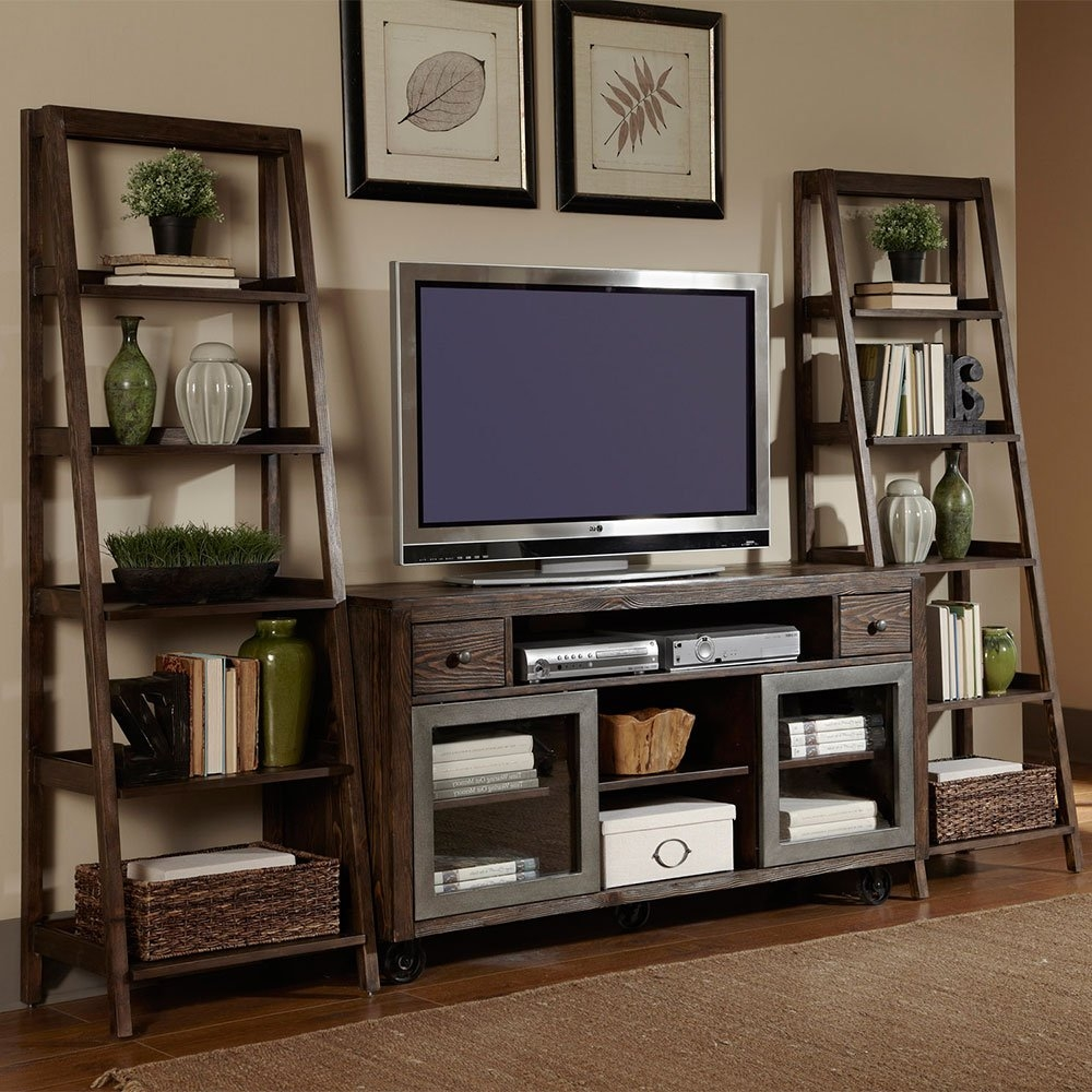 Avignon Five Shelf Ladder Bookcase 72h Ladder Bookcase With Regard To Bookcase With Tv Shelf (#1 of 15)