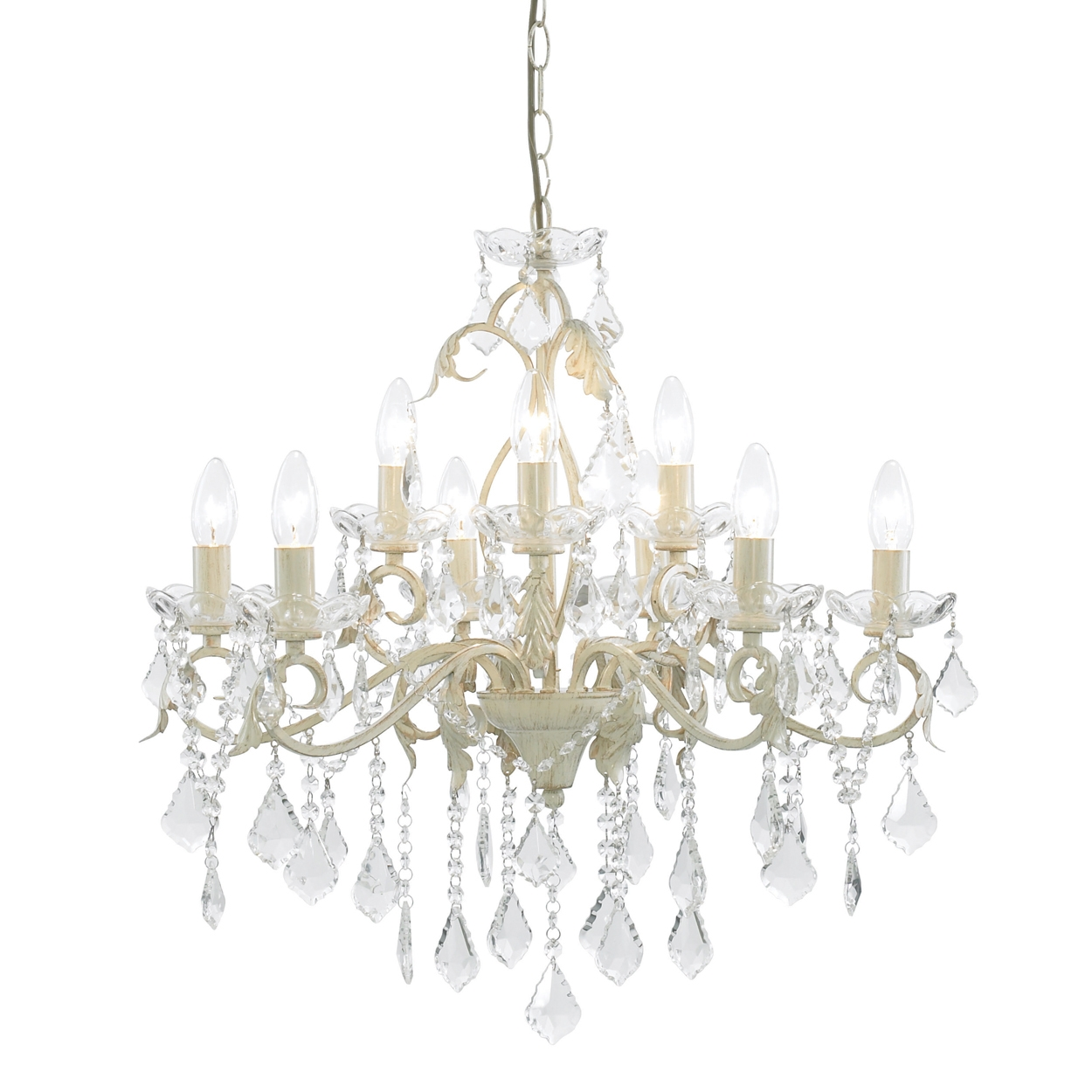 Popular Photo of Cream Crystal Chandelier